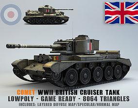 Low Poly A34 Comet Cruiser Tank 3D asset