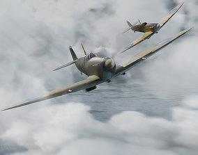 plane Spitfire 3d model - Blender