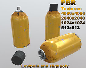3D model Aerosol spray can - yellow scratched paint