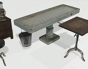 Low Poly Vintage Mortuary Items 3D asset