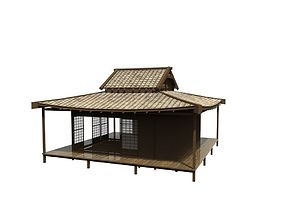 3D asset game-ready Asian Wood House