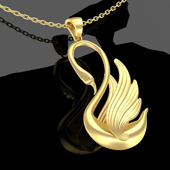 Swan Sculpture Pendant Jewelry Gold 3D print model