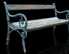 Realistic Old Textured Bench 3D