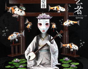 Japanese geisha set 3D