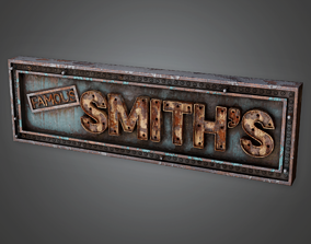 3D asset Post Apocalyptic Abandoned Sign 14 - PAS - PBR 1