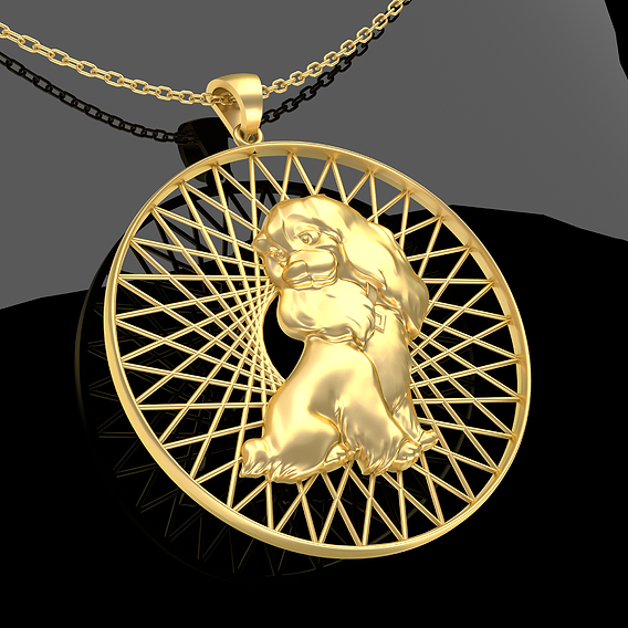 Cartoon Dog Pendant jewelry Gold 3D print model