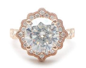 3DM Classic sunflower engagement ring for women