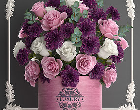 bouquet of pink flowers in a gift box 93 3D model