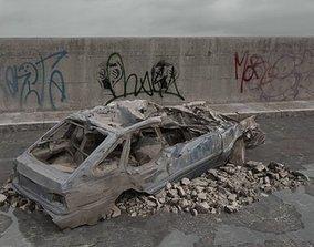 3D model destroyed car 074 am165