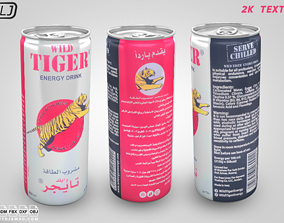 3D model Wild Tiger - Energy drink - Soda Can
