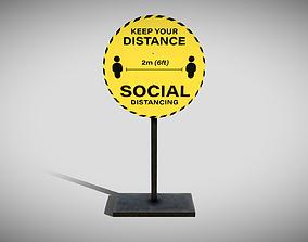 3D model Social Distancing Signage
