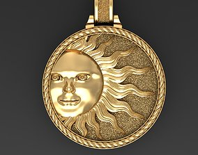 3D printable model flower Sun face pendant