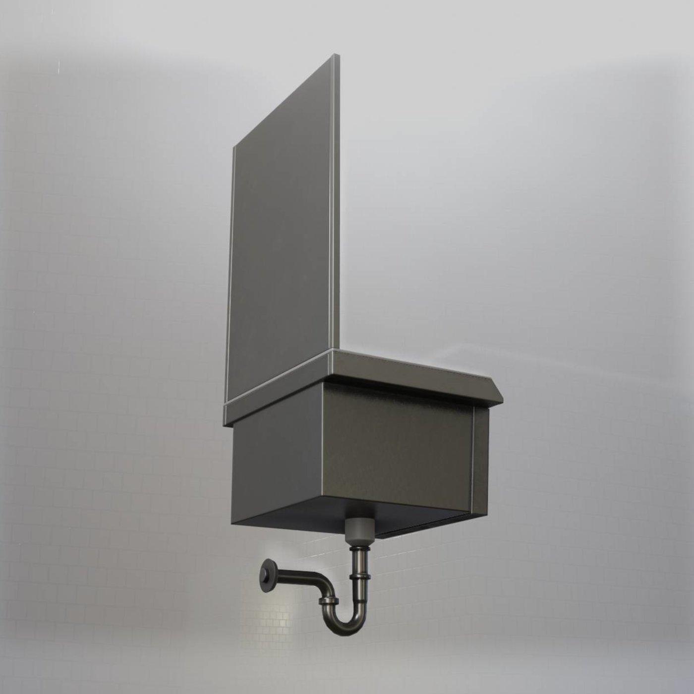 Public Metal Sink - 7 - with Mirror Low-poly  (Blender-2.92 Eevee)