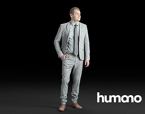 Humano Elegant Business Man Standing and looking 3D model