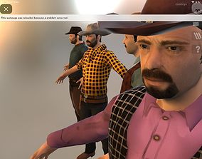 Cowboy Low Poly GameREADY Unity3D rigged realtime