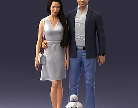 Couple with dog 1123 3D model