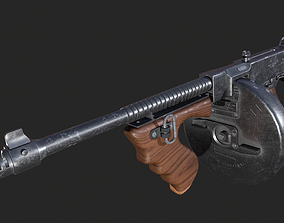 3D asset game-ready Thompson T-1 Submachine Gun