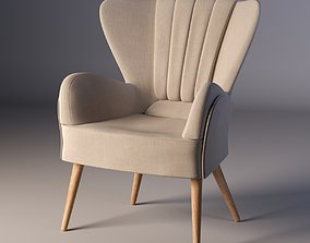 3D Classic chair in light beige upholstery on thin wooden