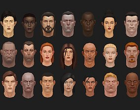 low poly handpainted heads full pack 3D