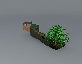 Steeply sloping garden with steps 3D