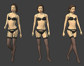 Rigged Lowpoly Female Character - Jane 3D model