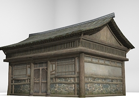 3D asset Monolithic wooden plank dwelling in ancient