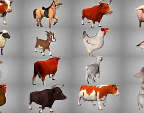 Farm animals collection chicken 3D model