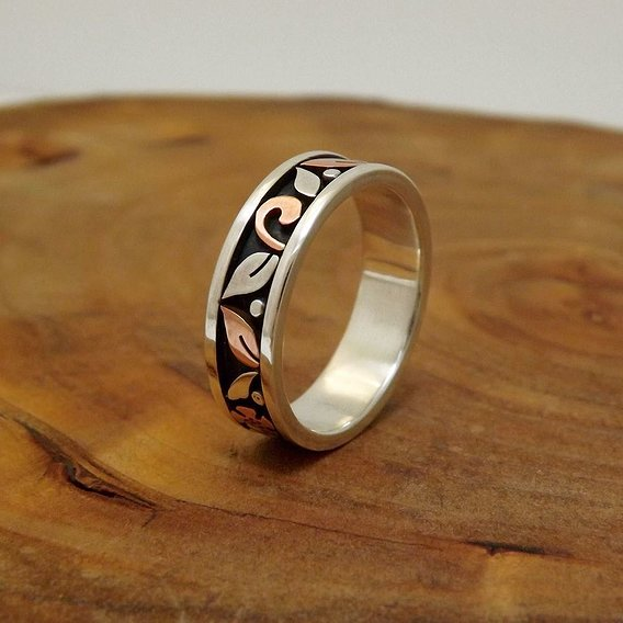Silver and coper ring