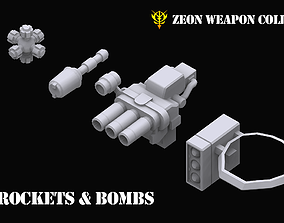 3D model Gundam Zeon Rockets and Bombs