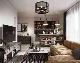 Loft apartment scene kichen and livingroom and 3D model 1