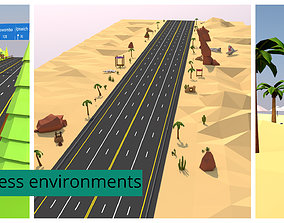 Stylized Endless Racing Game Environments 3D asset