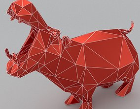 hippo lowpoly 3D print model realtime