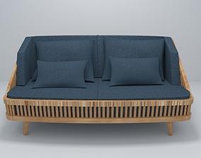 Modern Wood Sofa model game-ready