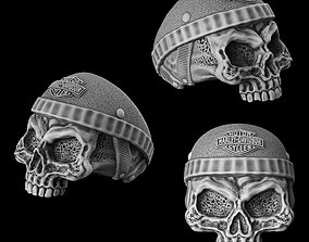 3D printable model Ring skull of a biker in a