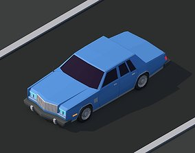 Cartoon Low Poly Chrysler 1980 Car 3D model game-ready