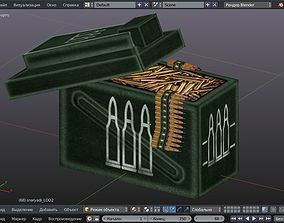 3D asset Minigun cartridges low poly