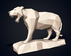 3D model LowPoly Tiger Statue - Ready for 3D