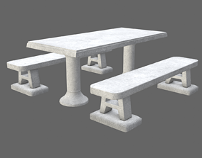 3D asset Game-ready Concrete Picnic Table - Unity and 1
