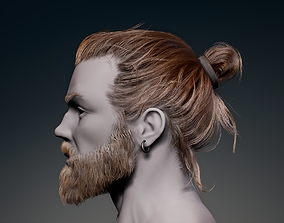 Game Hair - Man Real-time Hairstyle Beard and 3D asset
