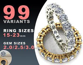 Eternity diamond rings set wedding 3D print model