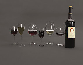 Bottle and glasses of wine 3D