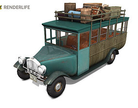 Old fashion bus 3D