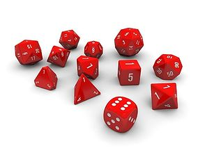 Polyhedral Dice Set - Red 3D model