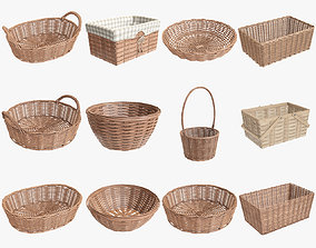 Wicker baskets light brown with fabric handle 3D model