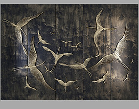 3D asset Decorative wall waves fly1