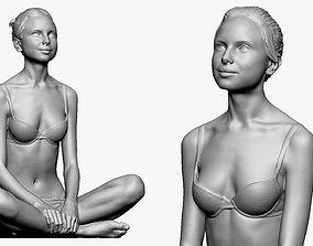 001241 woman in bikini seat yoga pose 3dp