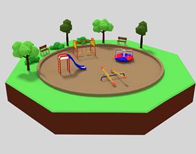 3D model Low Poly Cartoon Playground Scene
