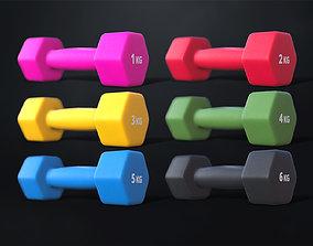 Set of fitness dumbbells 3D