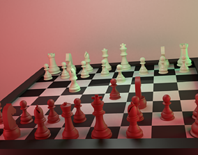 Chess Board With Pieces 3D model