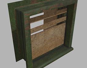 3D model Old wood window